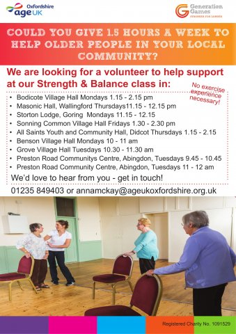 Strength & Balance exercise class Support Volunteer | GO Active